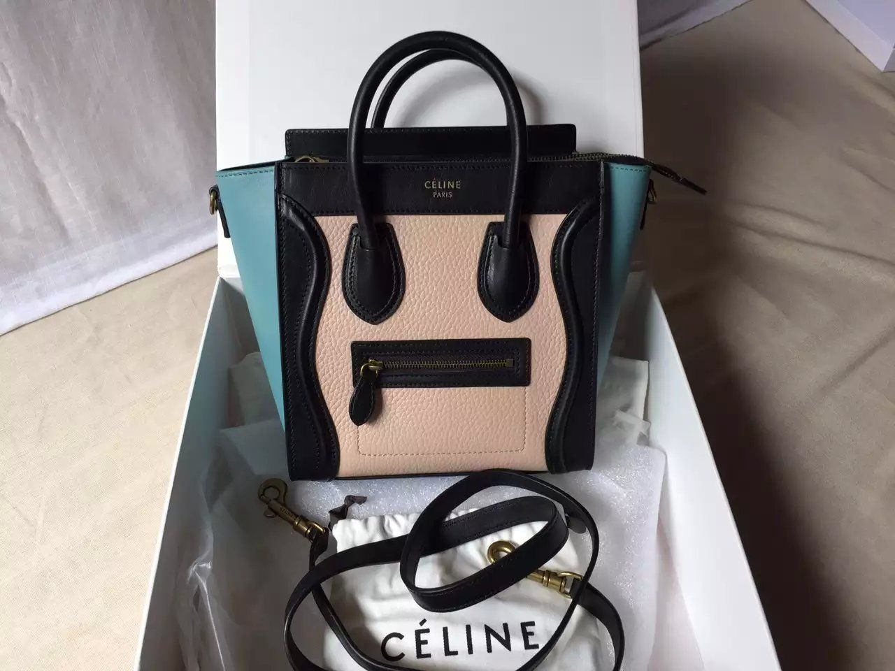 1d1e828929d1 New Arrival Spring 2016 Celine Bags Outlet-Celine Nano Luggage Handbag with  Multi Colours Calfskin Leather NC0420-BNAB