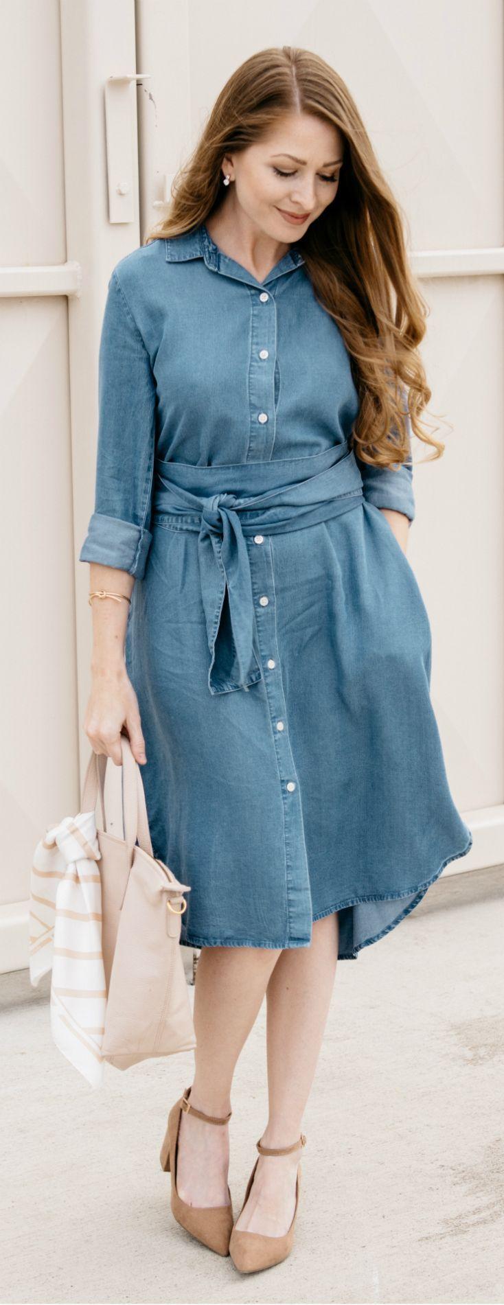 GAP Denim Shirt Dress / Chambray Shirt Dress / Cuyana Tote / Fashion ...