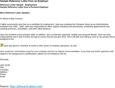 Sample Reference Letter From An Employer  TemplatesForms