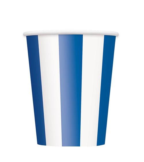 """Pappbecher """"Stripes"""" – königsblau – 6 Stück"""