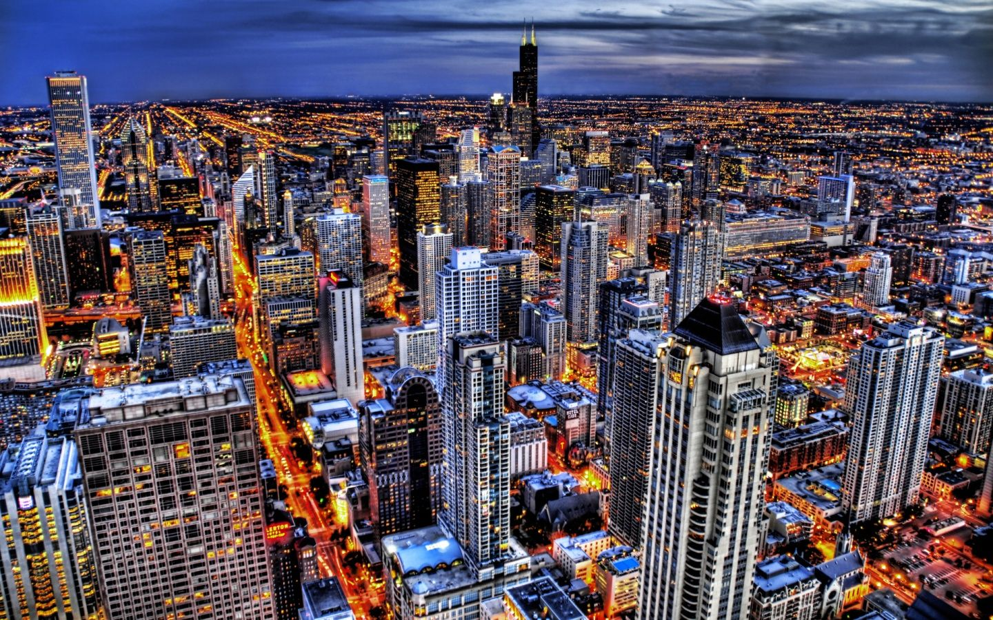Chicago Night Lights American Cities City Photos