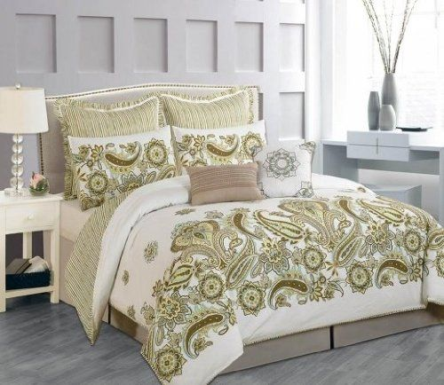 Luxury Home 8 Piece 100 Percent Cotton Paisley Comforter
