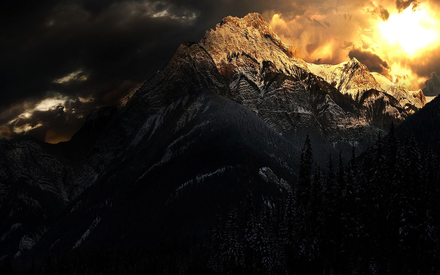 Gorgeous Dark Mountains Mountain Wallpaper Winter Wallpaper