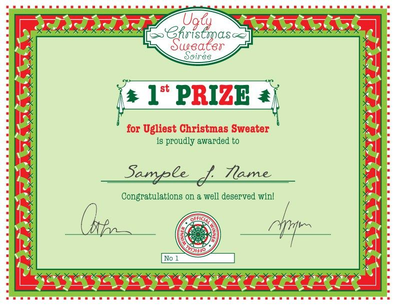 Free Christmas Printable Ugly Christmas Sweater Party First Prize