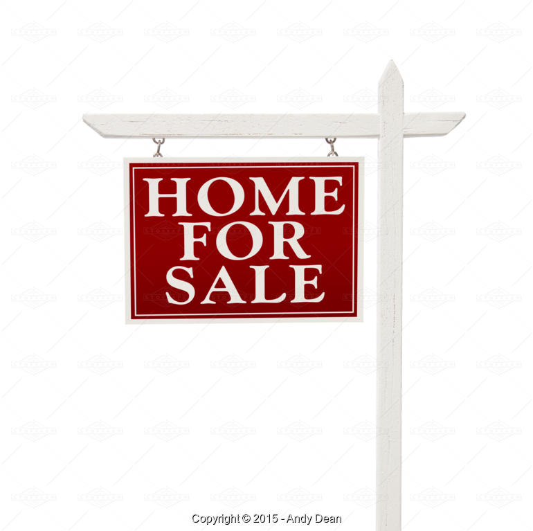 Home For Sale Real Estate Sign on White or Transparent PNG