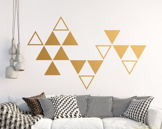 Large Triangle Wall Decals Geometric Vinyl Decals Gold Etsy