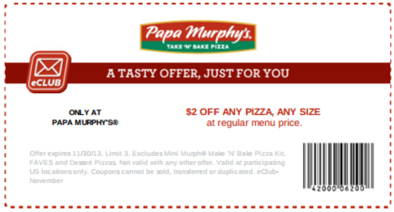 photograph relating to Papa Murphy's Printable Coupon referred to as Pin through Bianca Louis upon Papa Murphy Coupon codes inside of 2019 Pizza