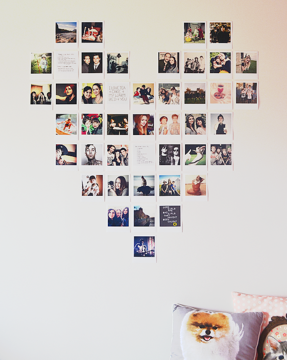 diy polaroid heart wall 580 728 heart pinterest polaroid dorm and walls. Black Bedroom Furniture Sets. Home Design Ideas
