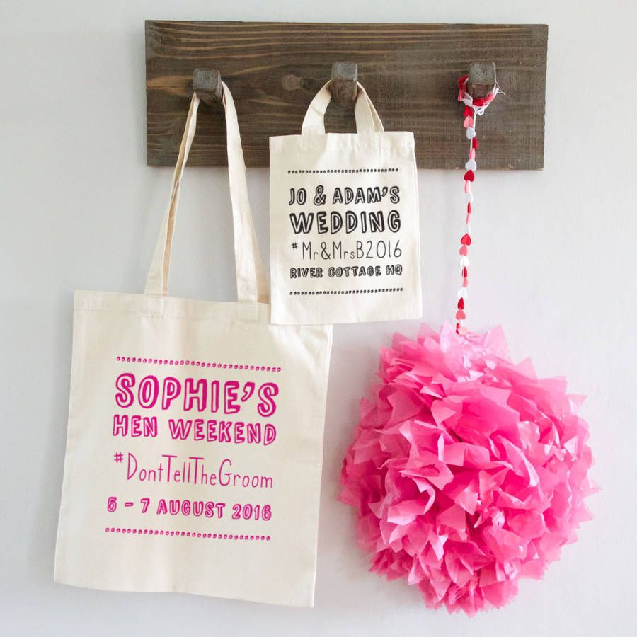Hashtag Wedding Or Hen Party Bag @notonthehighst | Wedding Favours ...