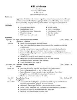 apprentice electrician resume pinterest resume examples and