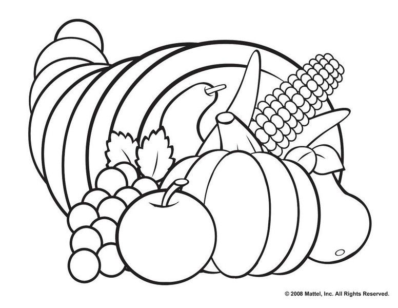 Printable Fall Coloring Pages Horn, Thanksgiving and Adult coloring - best of realistic thanksgiving coloring pages
