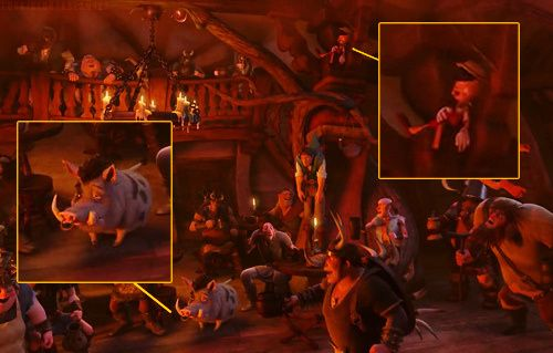 Fact #38   Looks like Pinocchio and a sorry-looking Pumbaa made a cameo in Tangled!