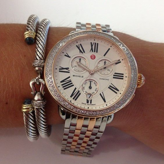 a85a0fc6f Here is a sneak peek of the newest Michele Serein Watch, paired with two  David Yurman bracelets!: