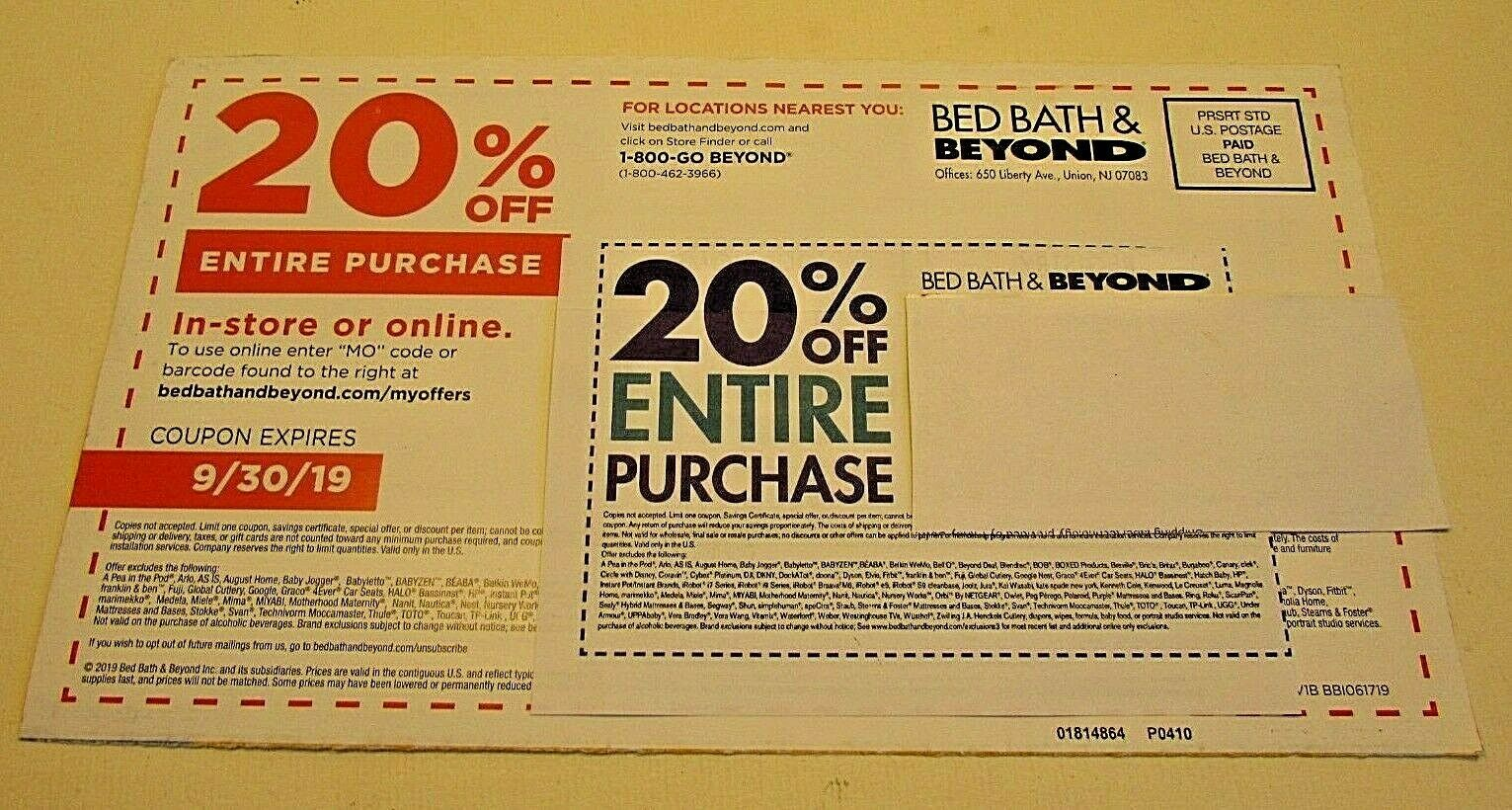 Lot 2 Bed Bath Beyond 20 Off Entire Purchase Coupons Save