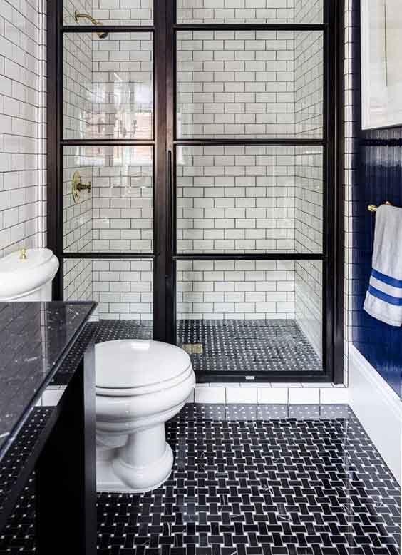 Piso azulejos negros hogar en 2018 pinterest ba os for Pisos de banos pequenos