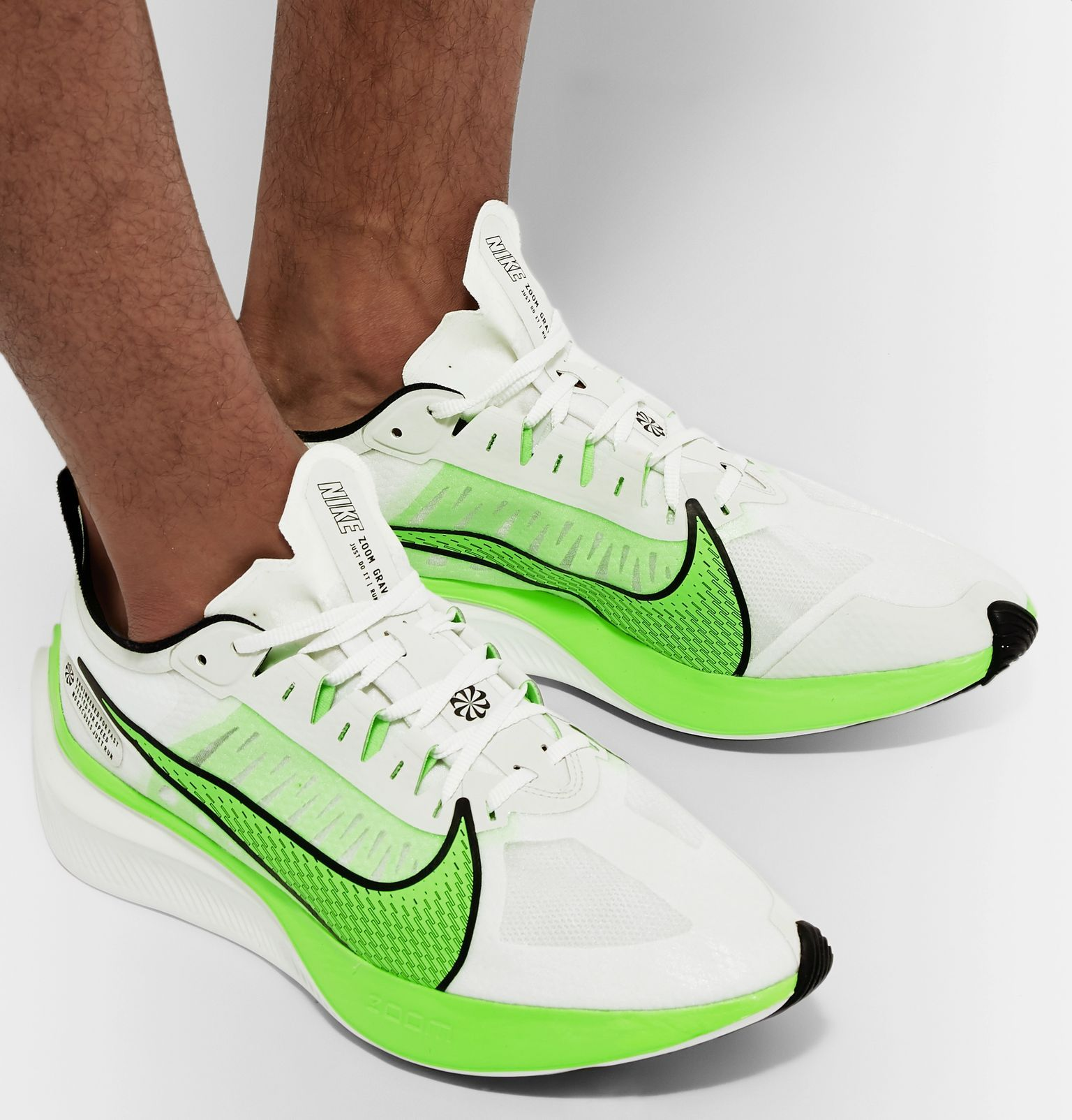 White Zoom Gravity Logo-Print Ripstop Running Sneakers | Nike ...