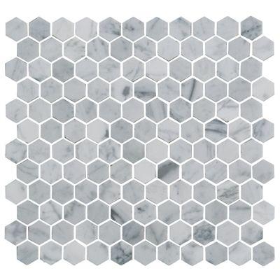 faber 12 x 12 white & silver grey natural stone mosaic