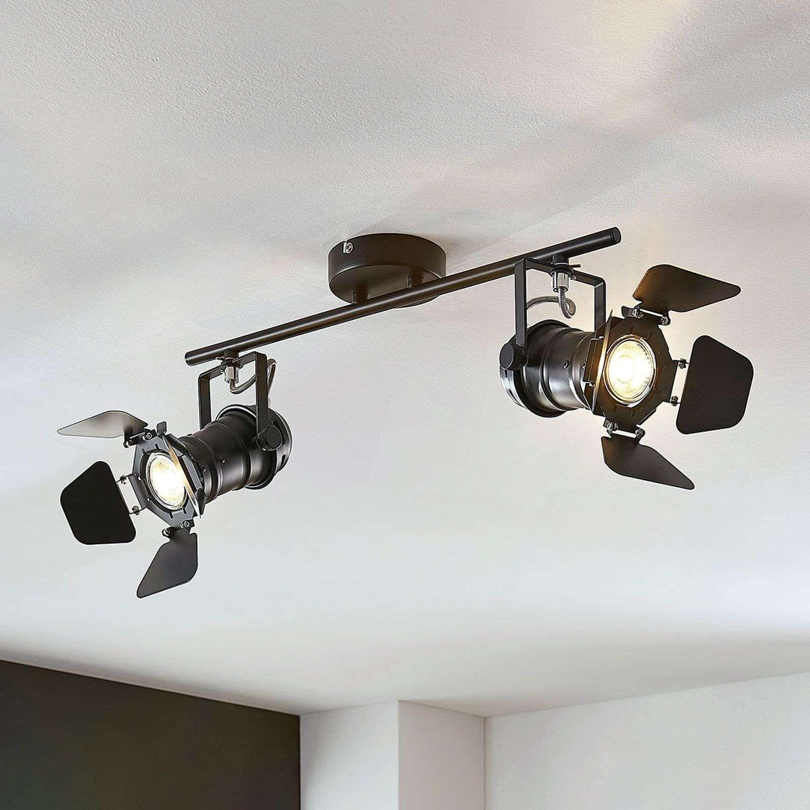 Plafonnier Tilen A 2 Lampes Aspect Projecteur En 2020 Luminaire Plafond Plafonnier Et Carreaux De Plafond