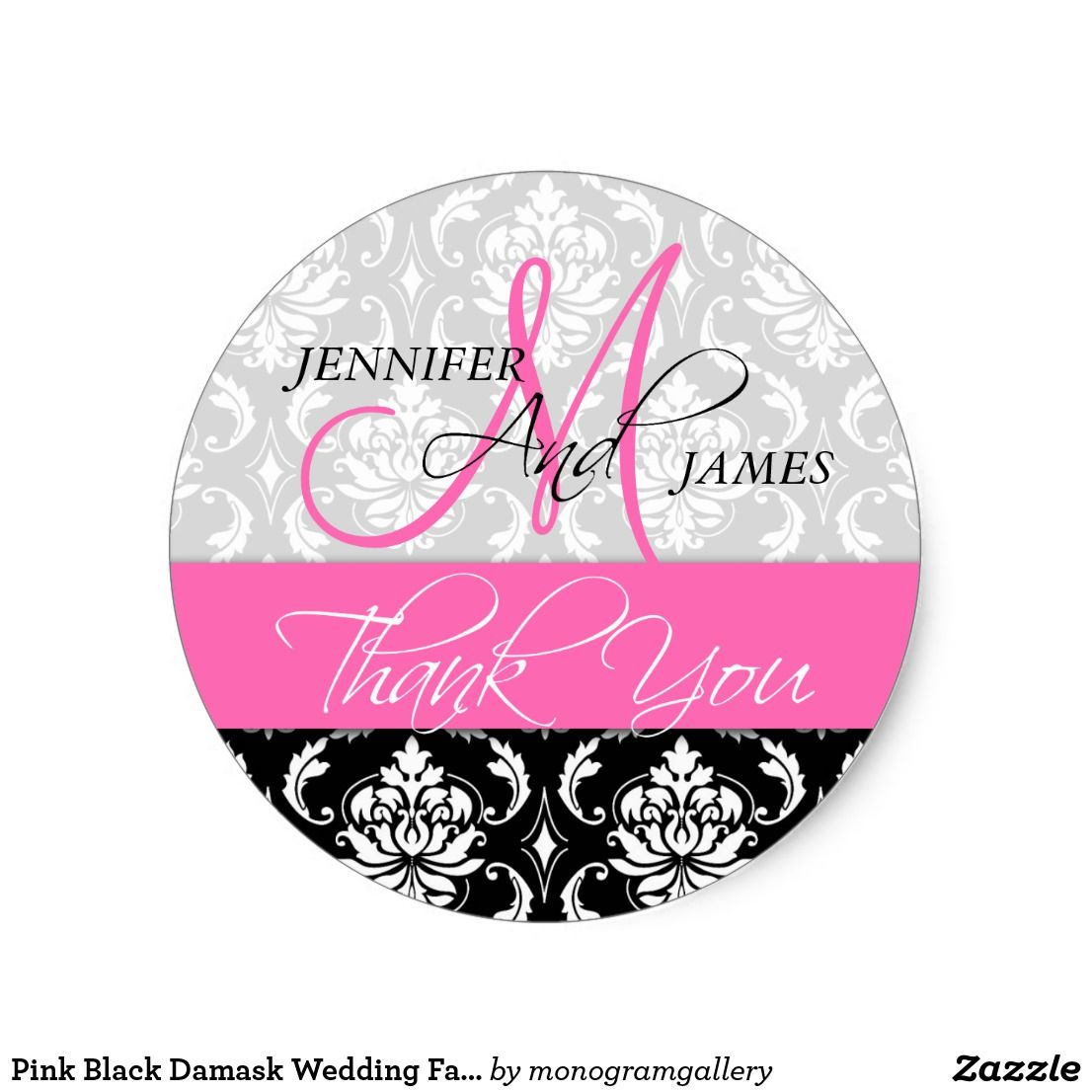 Pink Black Damask Wedding Favor Thank You Sticker | Favors, Wedding ...