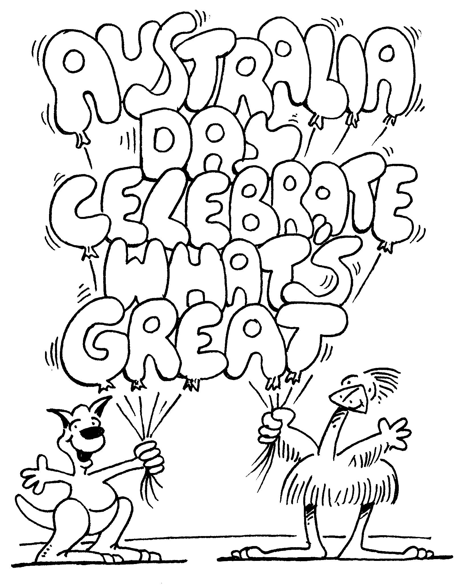 Australia Day Celebrate Whats Great Coloring For Kids Australia