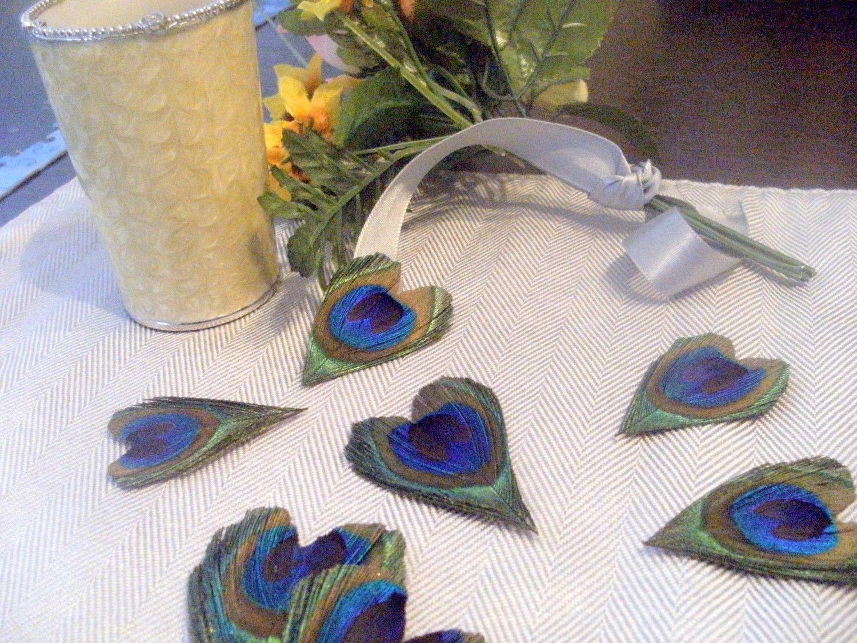 35 Peacock Feather Heart Wedding Favors Decor By CherubinoCrafts