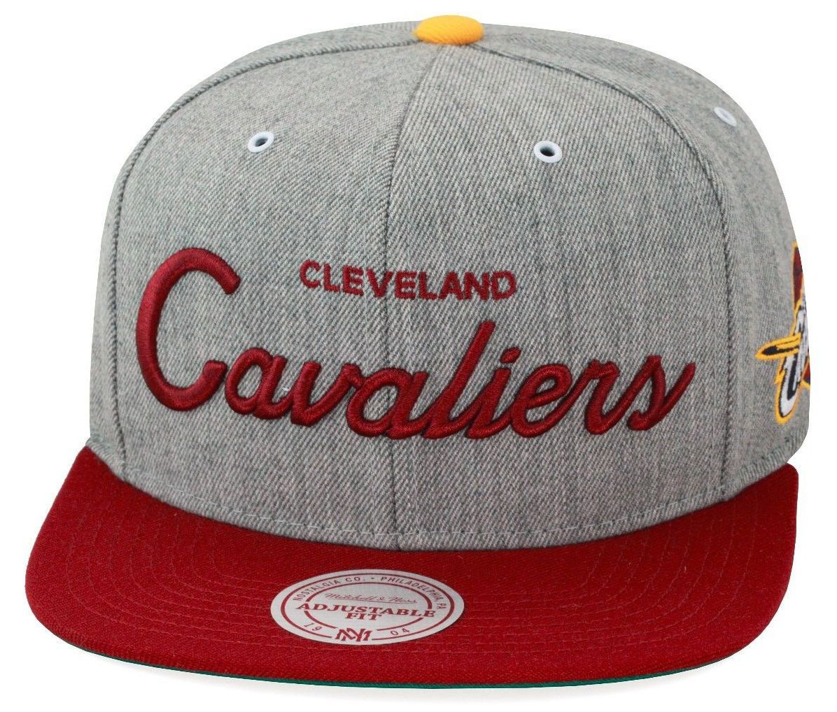 6ae34f6288d Mitchell   Ness Cleveland Cavaliers Cavs Snapback Hat Heather  Grey Maroon Script