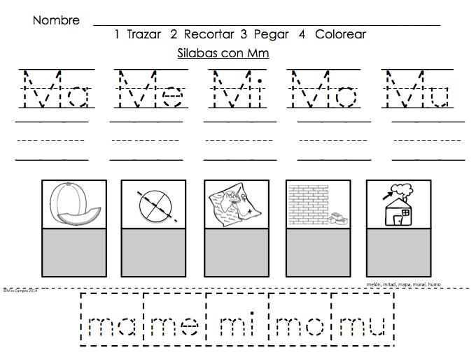 letra m ma me mi mo mu bundle spanish alphabet syllable and student work. Black Bedroom Furniture Sets. Home Design Ideas