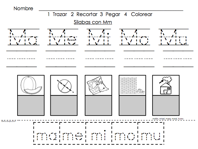 Trabajos Para Las Silabas Con M Ma Me Mi Mo Mu Fichas Para M Student Work For The Letter M As A Language Education Speech And Language Phonics Words