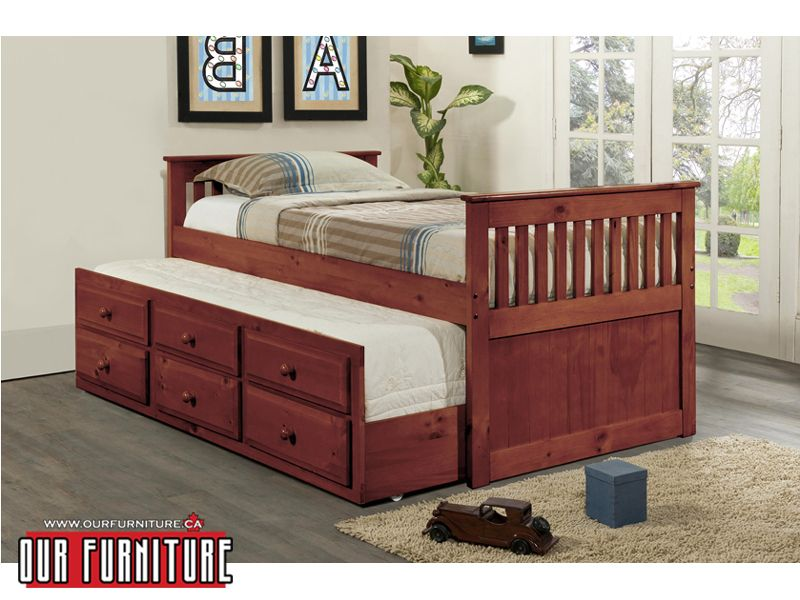 Twin Size Bed Which Includes A Pull Out Single Trundle Bed For A