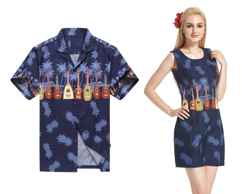 Couple Matching Hawaiian Luau Outfit Aloha Shirt Tank Dress in Sunset Red