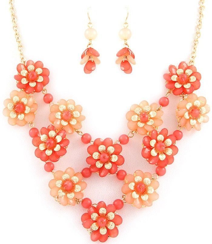 Floral Necklace Set - Peach via Thorpe's Emporium. Click on the image to see more!