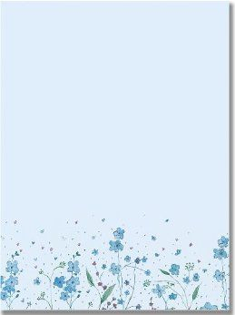 Letter-Perfect Stationery Blue Flowers