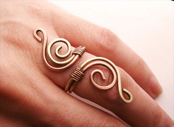 Wire Wrapped Brass and Copper Adjustable Ring  by GearsFactory, €12.00
