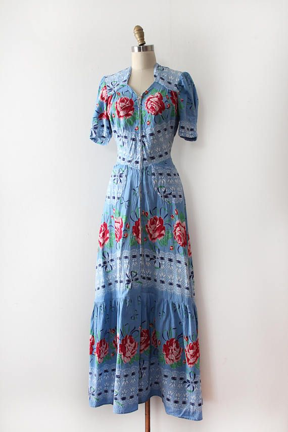 Vintage 1930s dress // 30s floral zip up dressing gown | Pinterest ...