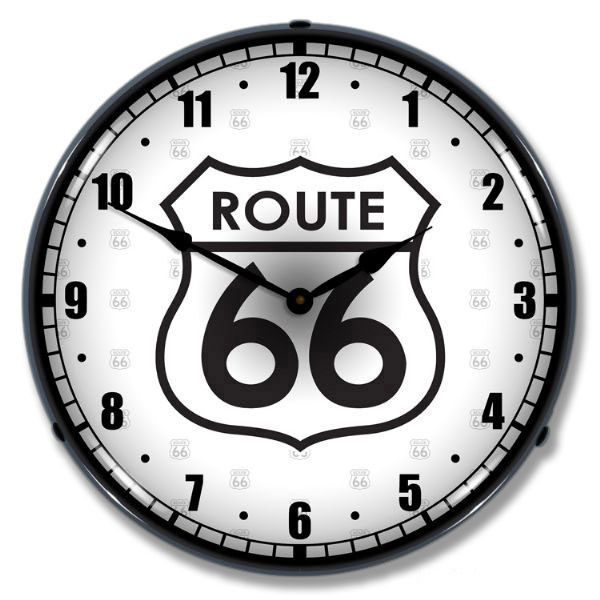 Route 66 highway shield light up diner clock route 66 clocks and spend your days on the famous highway with this route 66 light up clock a aloadofball Images