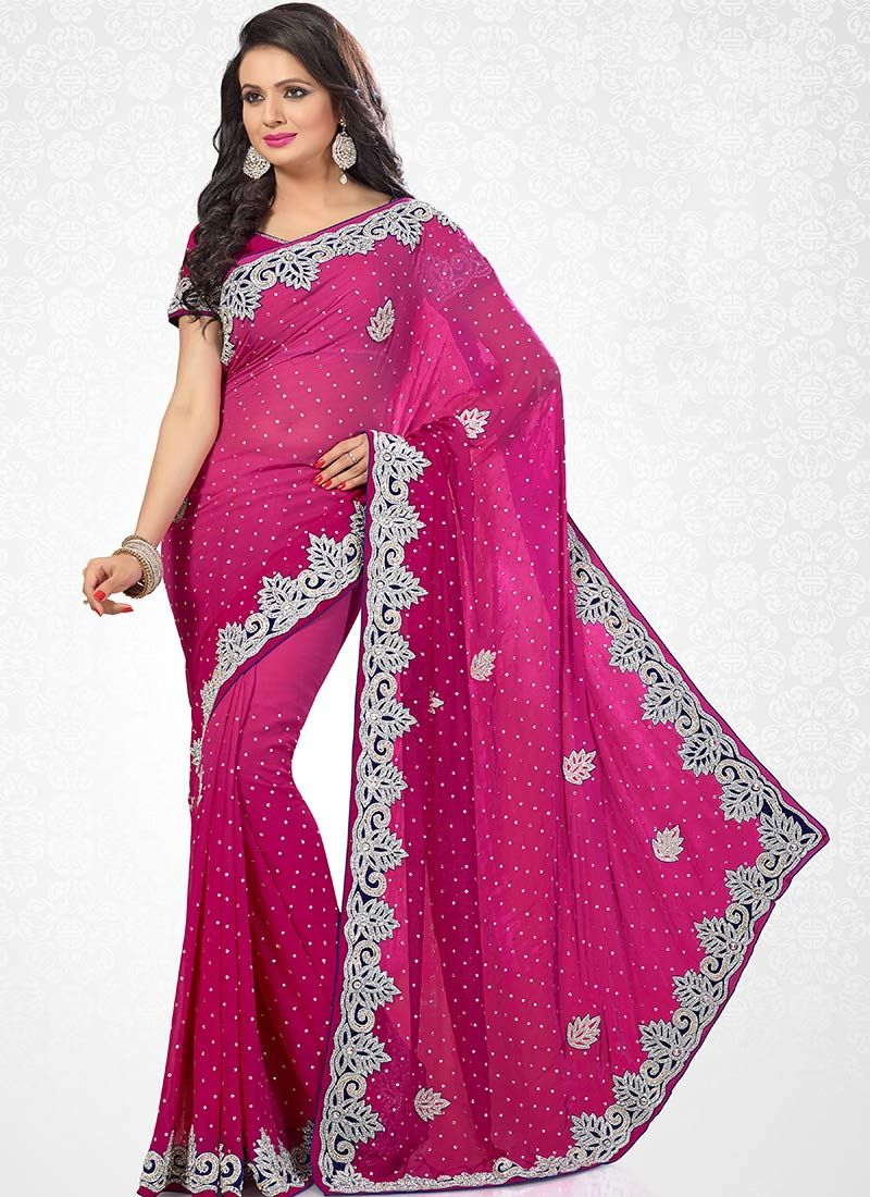 Gorgeous Magenta Georgette Saree | Indian clothes I like | Pinterest
