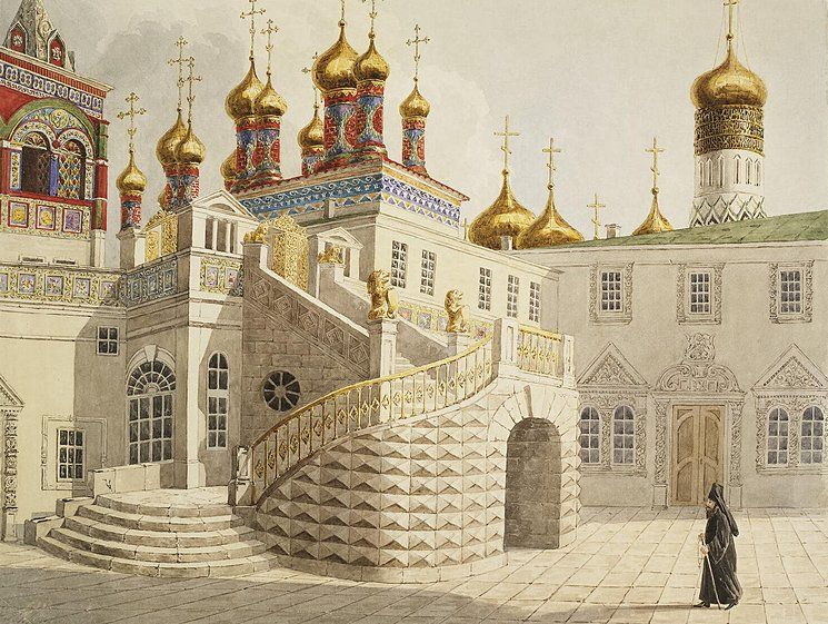 Boyar Ground and the Church of Our Saviour behind the Gold Railing in the Moscow Kremlin