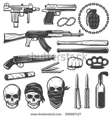 Set With Various Isolated Gangster Symbols With Weapons Guns Bats