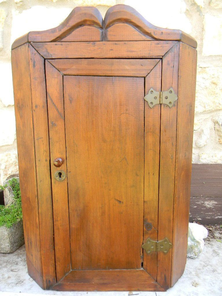 Antique Pine Corner Cupboard Cabinet