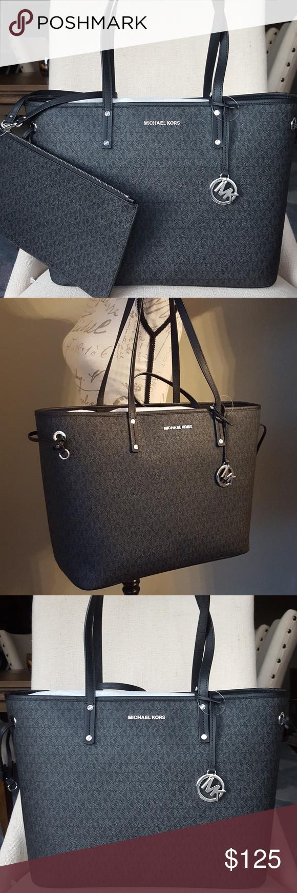 6f5c6762b3fc0 NWT Michael Kors drawstring tote black bag purse 100% guaranteed authentic NWT  Michael Kors large