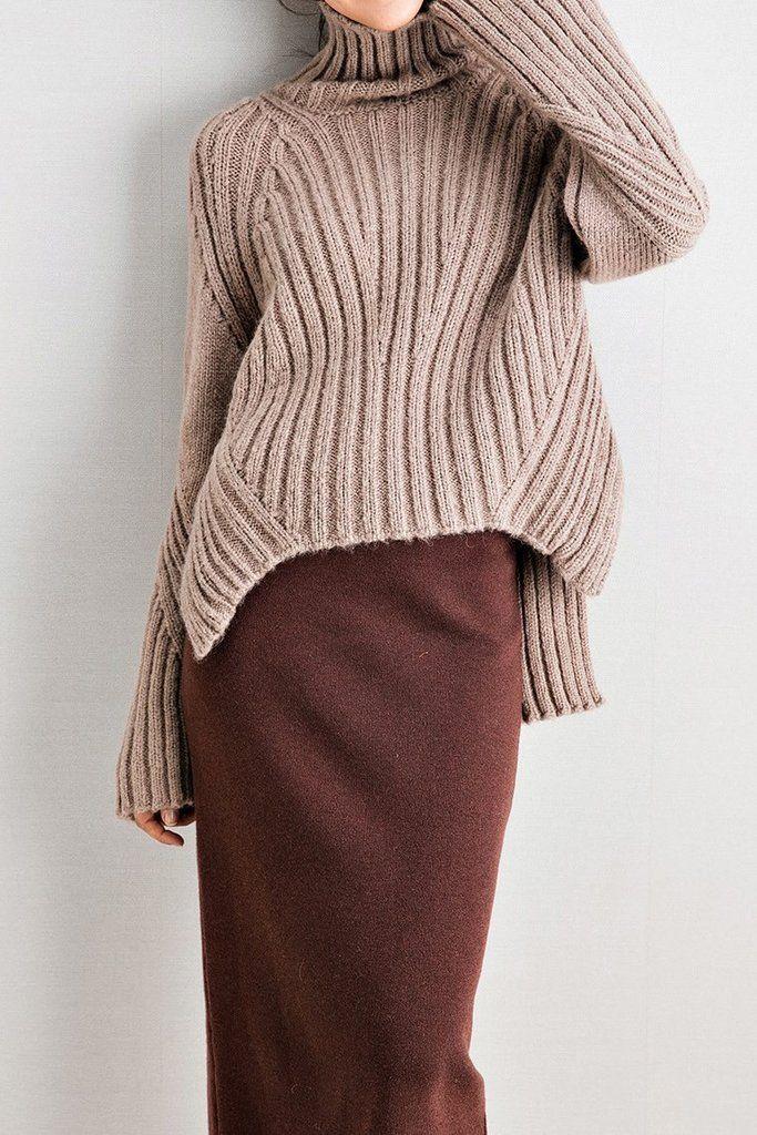 High Low Oversized Turtleneck Sweater