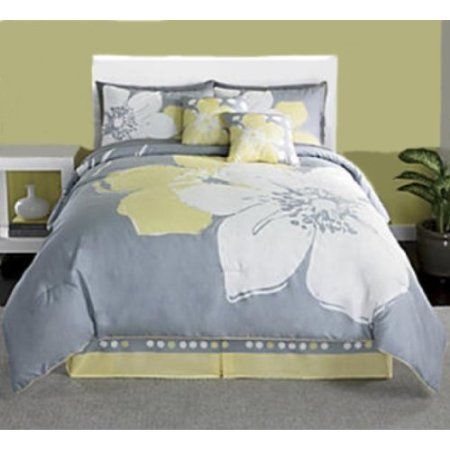 Pin By Duvet Divas On Future Home Ideas Grey And White Comforter Yellow And Gray Bedding Designer Bed Sheets