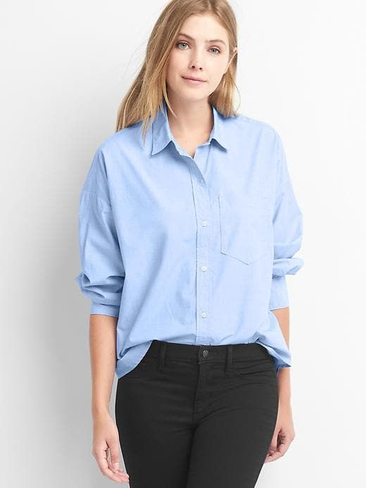 aa06e045 Gap Womens Poplin Oversize Cocoon Shirt Light Blue Oxford Size XXL ...