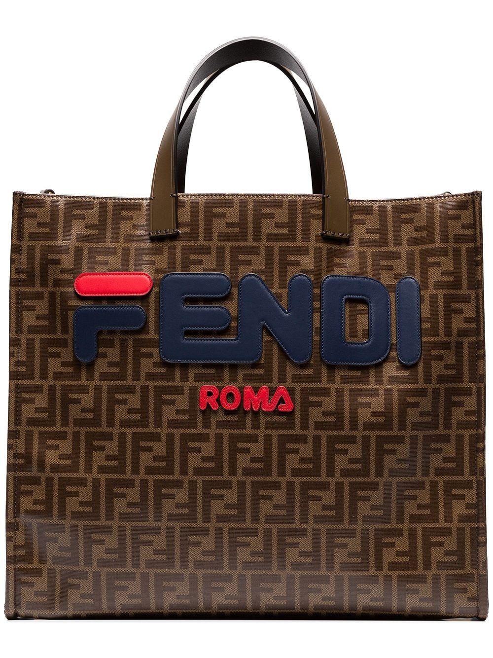 Fendi Fendi Mania Brown Logo Print Tote Bag 3d2e73b8d3fa7