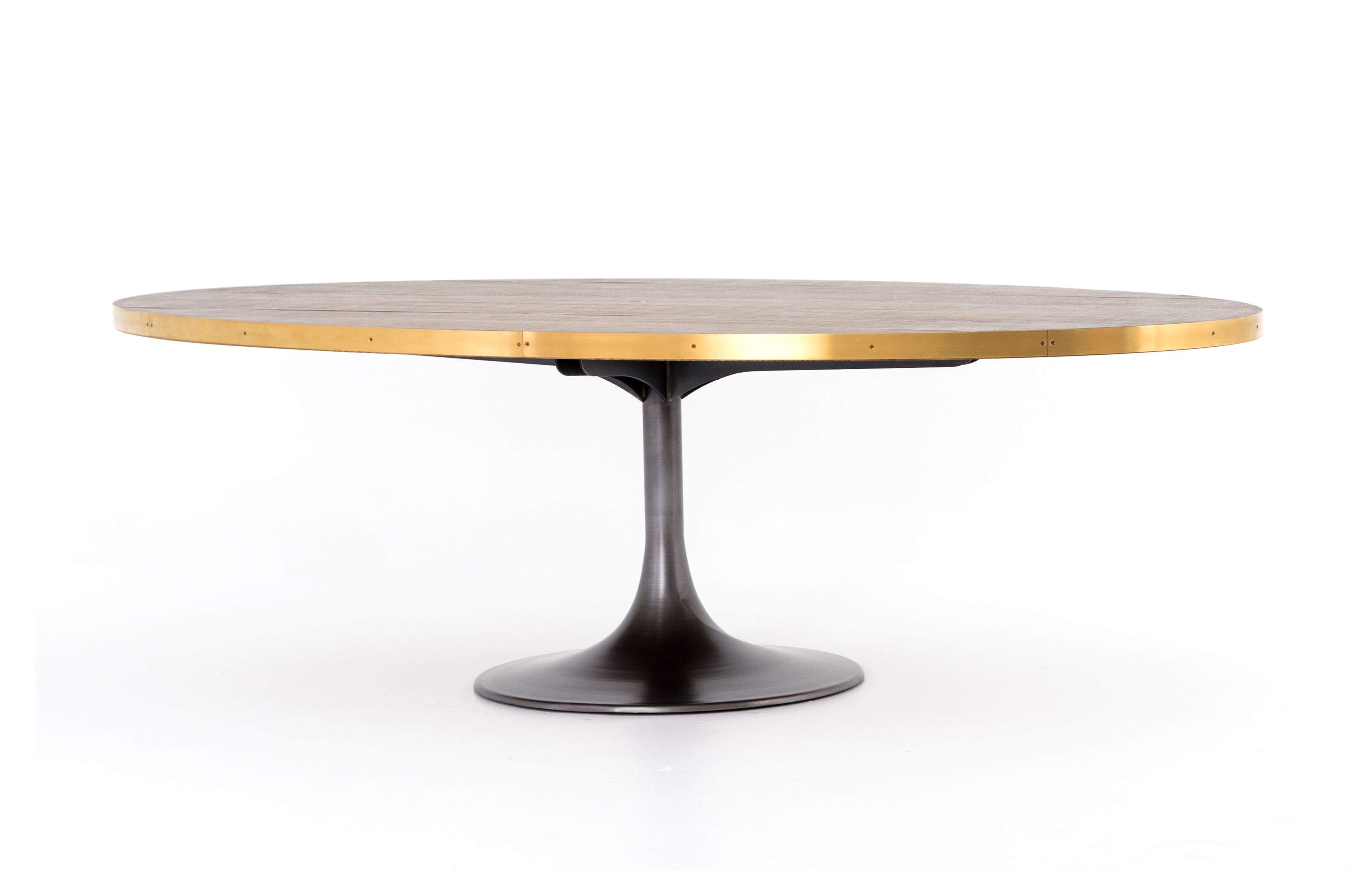 Oval Iron Oak And Brass Tulip Base Dining Table Dining Table