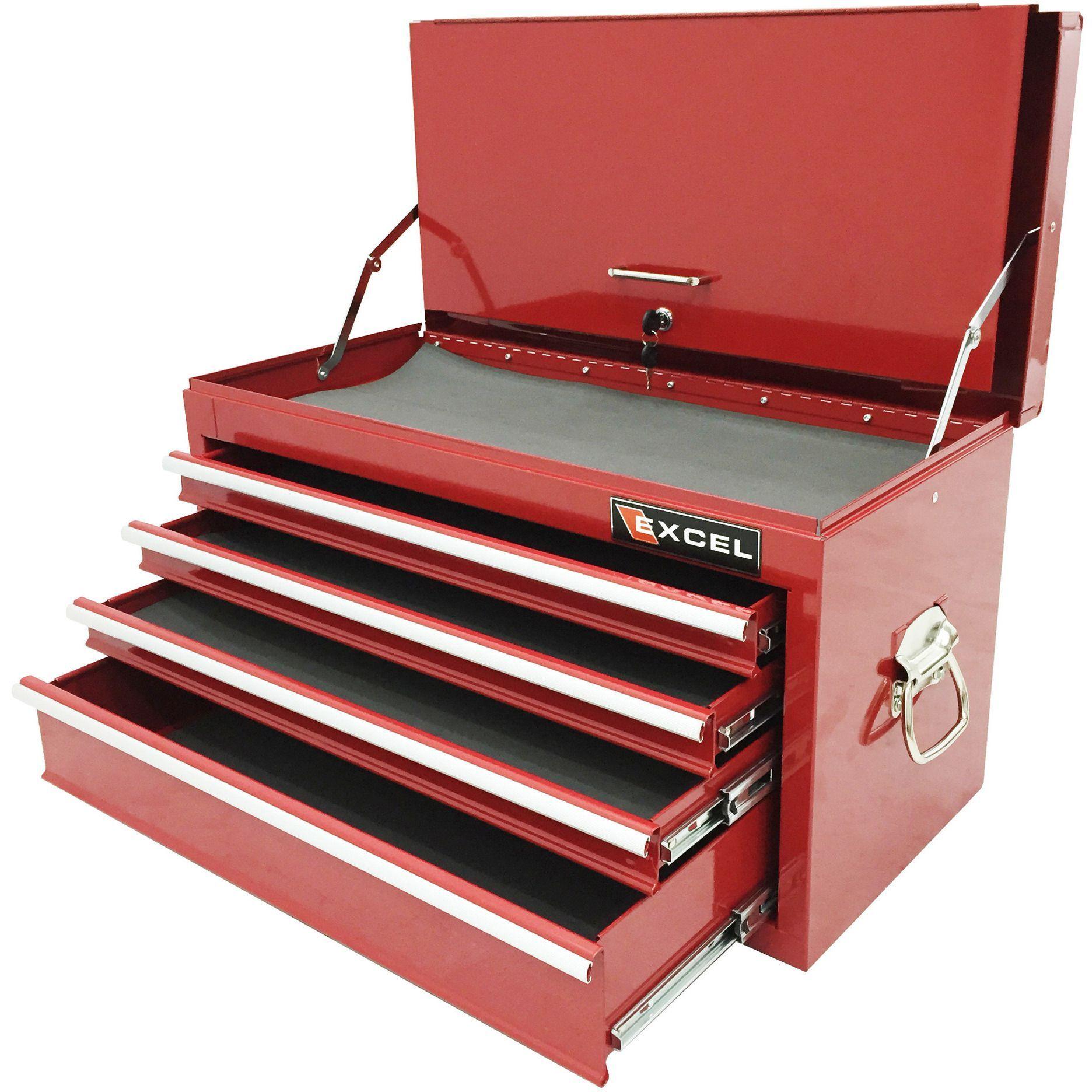 Excel 4 Drawer Portable Metal Tool Box (Top Box) TB2060BBS A