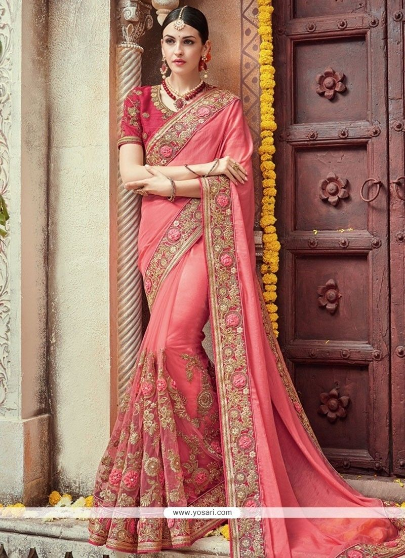 Embroidered georgette designer bridal sarees in pink Сарри
