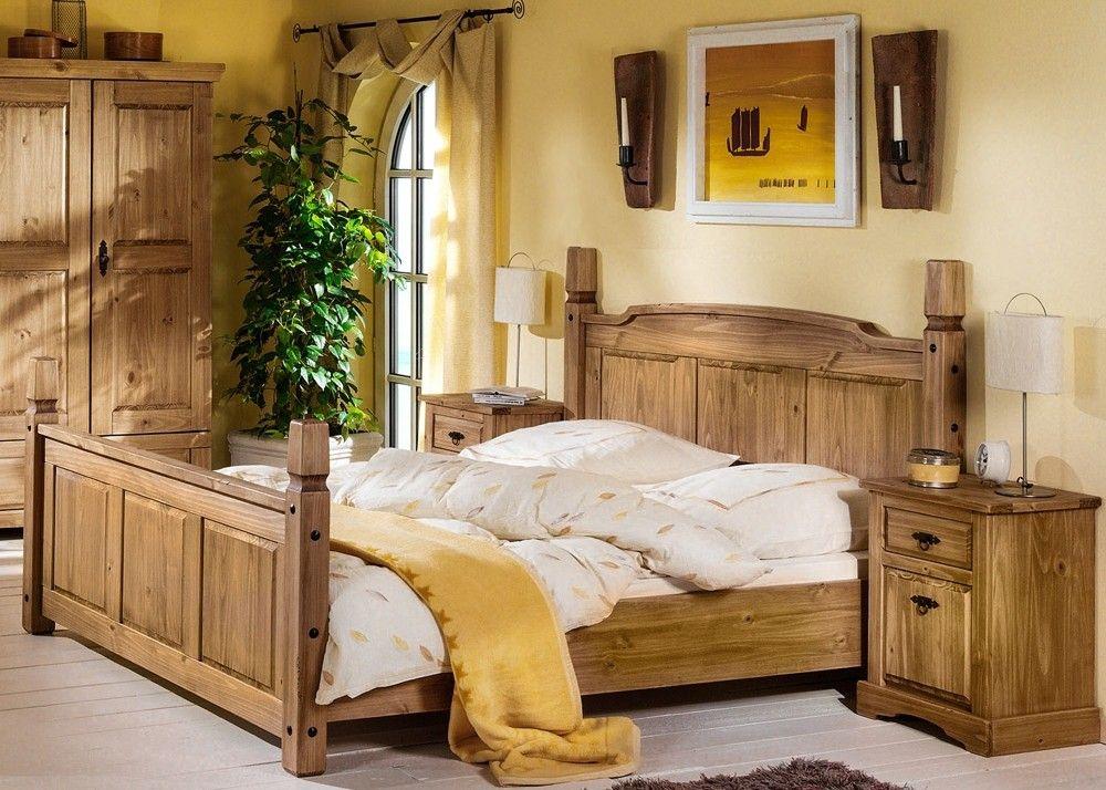 Landhaus Doppelbett Mexican Henke Möbel Kiefer Massiv Antik 21180 - massiv kiefer mbel