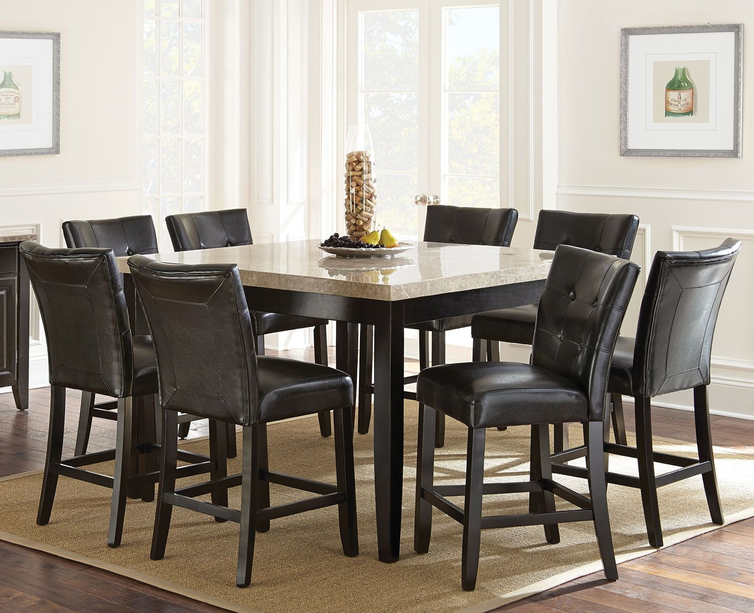 Montibello 9Piece Pubheight Dining Package With White Marble Stunning Dining Room Pub Table Sets Review