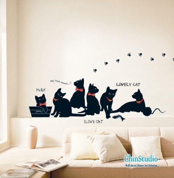 Vinyl Wall Decals Wall Stickers Children Wall Decals Animal Decals - Custom vinyl wall decals cats